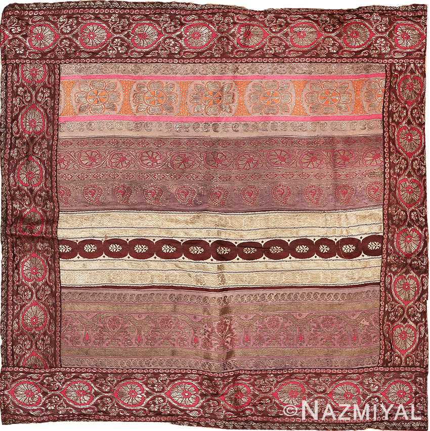 Antique Silk Persian Kerman Textile 49782 - Namziyal