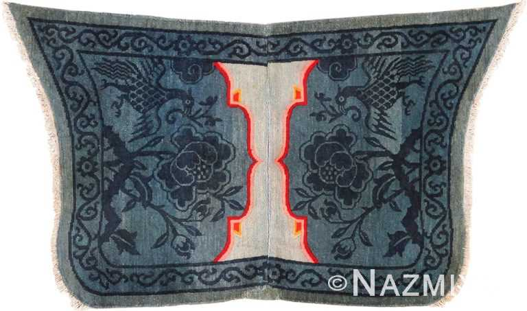 Blue Collectible Antique Tibetan Horse Cover 49794 - Nazmiyal
