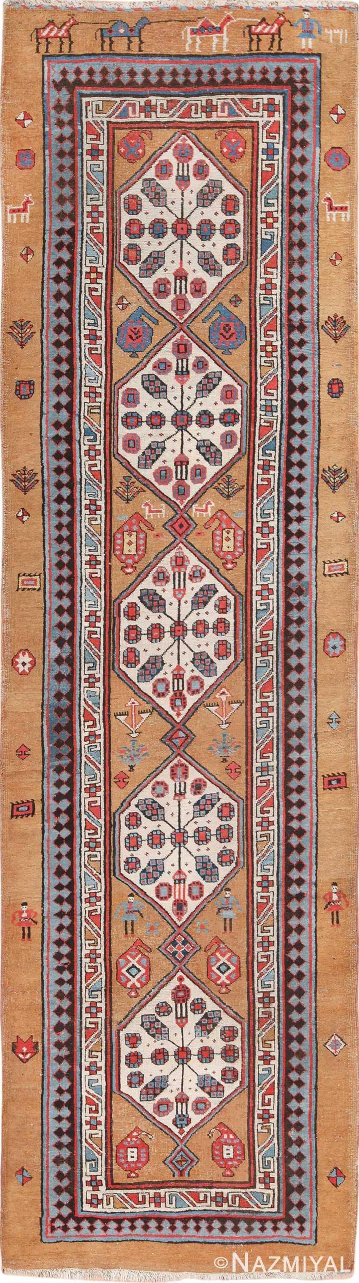 Antique Tribal Persian Bakshaish Runner Rug 49725 - Nazmiyal