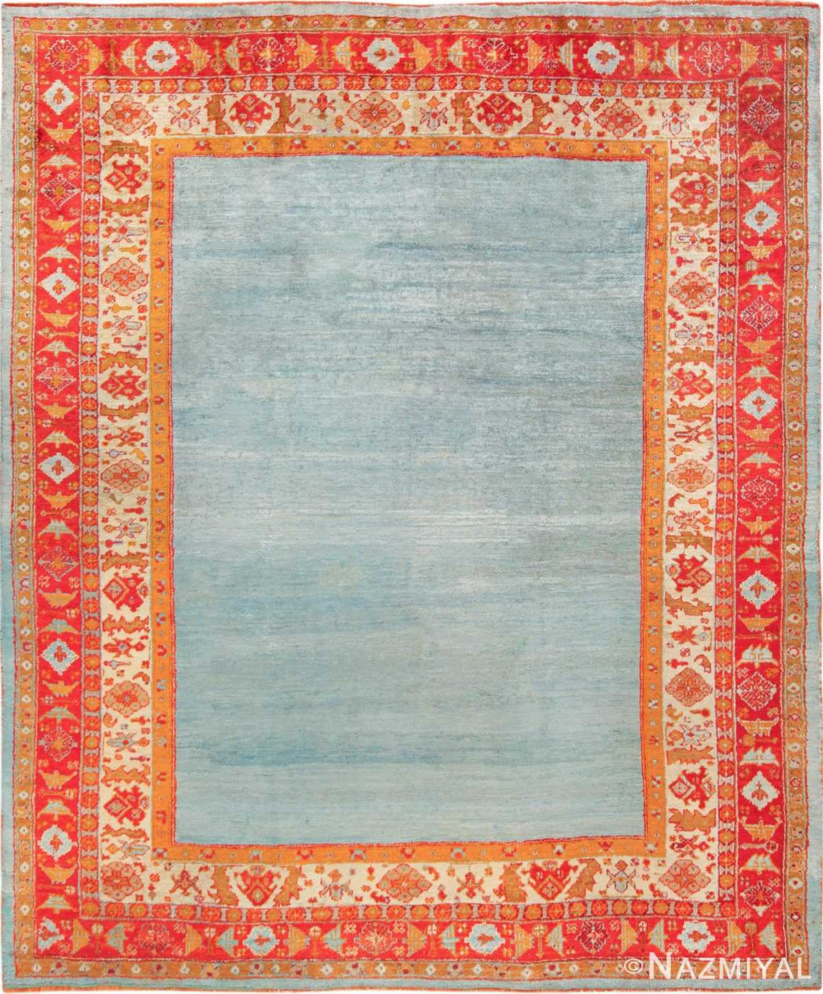 Light Blue Open Field Antique Turkish Angora Oushak Rug 49688 - Nazmiyal