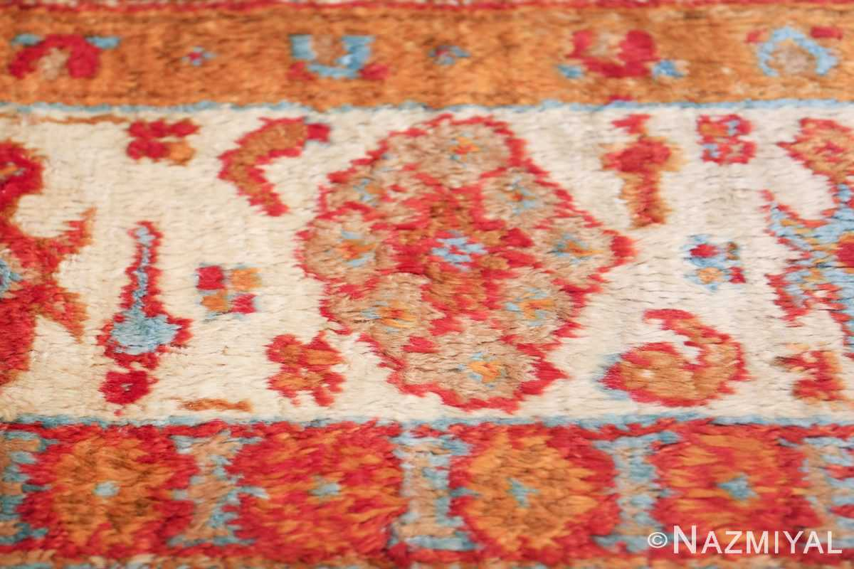antique turkish angora oushak rug 49688 flower Nazmiyal