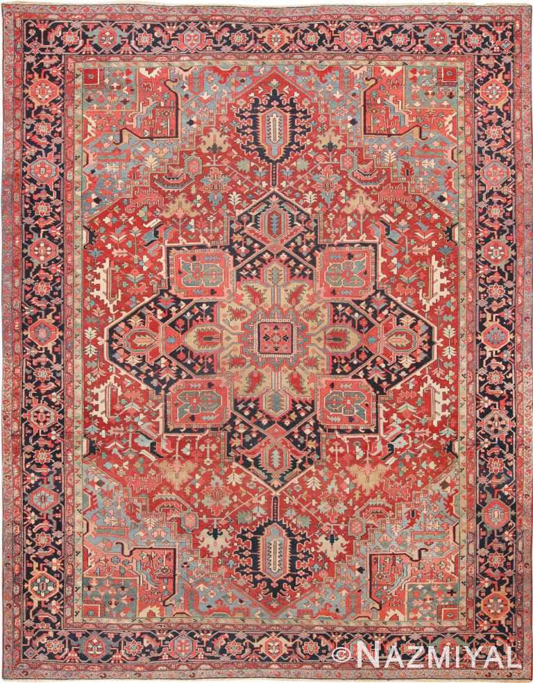 Room Size Geometric Antique Persian Heriz Rug 49475 - Nazmiyal
