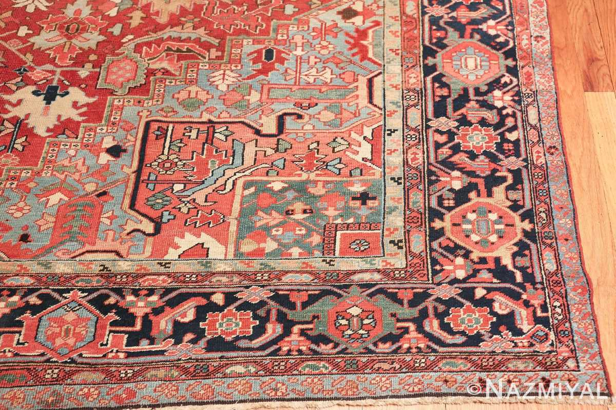 geometric antique persian heriz rug 49475 corner Nazmiyal