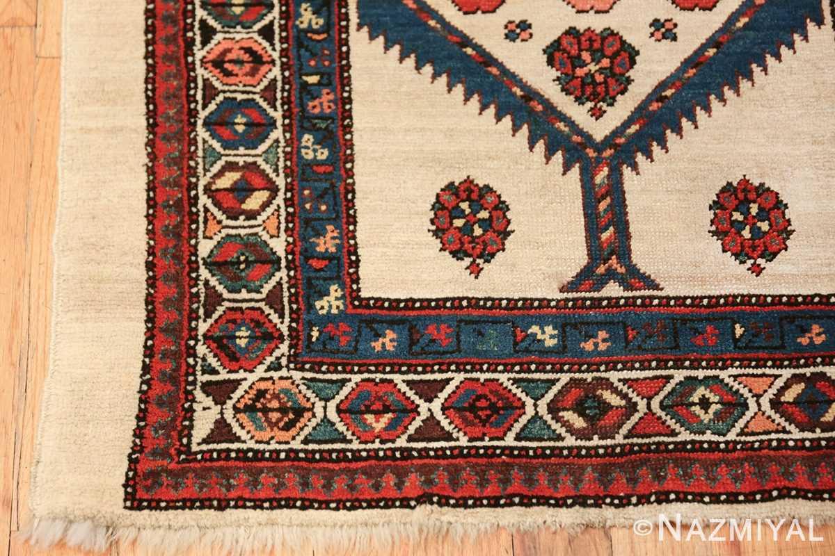 ivory background antique persian sarab runner rug 49769 corner Nazmiyal