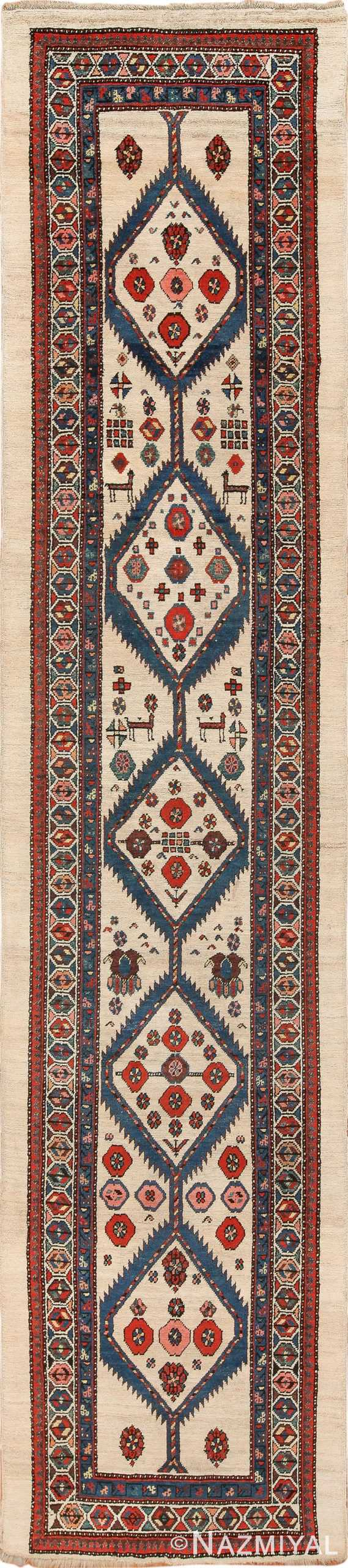 Ivory Tribal Antique Persian Serab Runner Rug 49769 - Nazmiyal