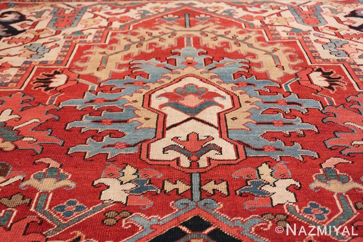large antique persian serapi rug 49705 blue Nazmiyal