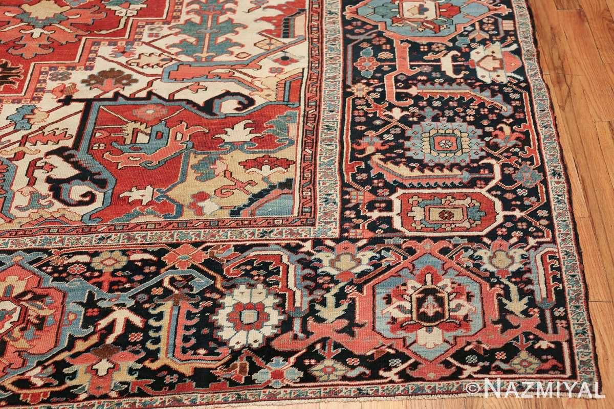 large antique persian serapi rug 49705 corner Nazmiyal