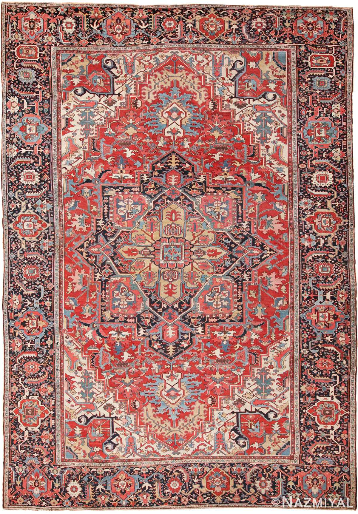 Large Antique Jewel Tone Color Persian Serapi Rug 49705 - Nazmiyal