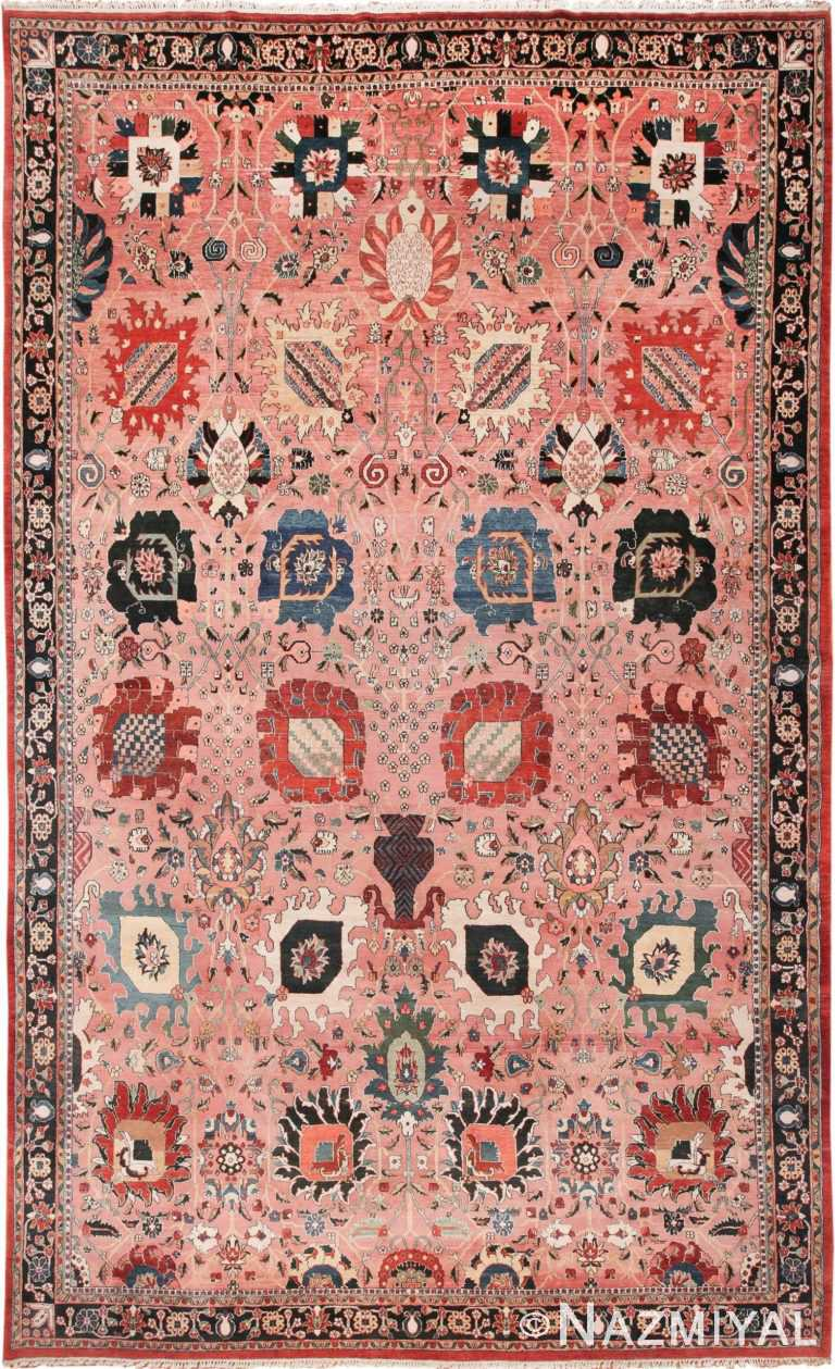 Large Vase Design Vintage Indian Agra Rug 49770 - Nazmiyal