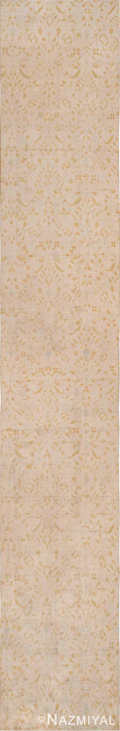 Long and Narrow Ivory Antique Indian Agra Runner Rug 49752 - Nazmiyal