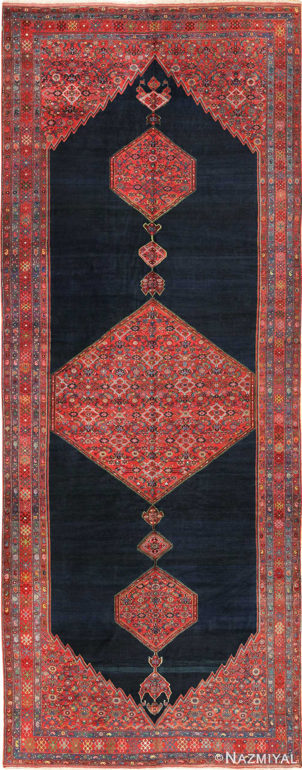 Wide Hallway Tribal Antique Persian Farahan Rug 49754 - Nazmiyal