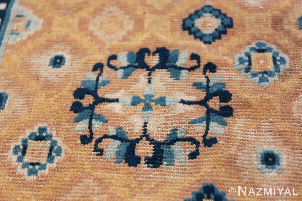 Mid 19th Century Chinese Ningxia rug 49798 blue flower wreath Nazmiyal