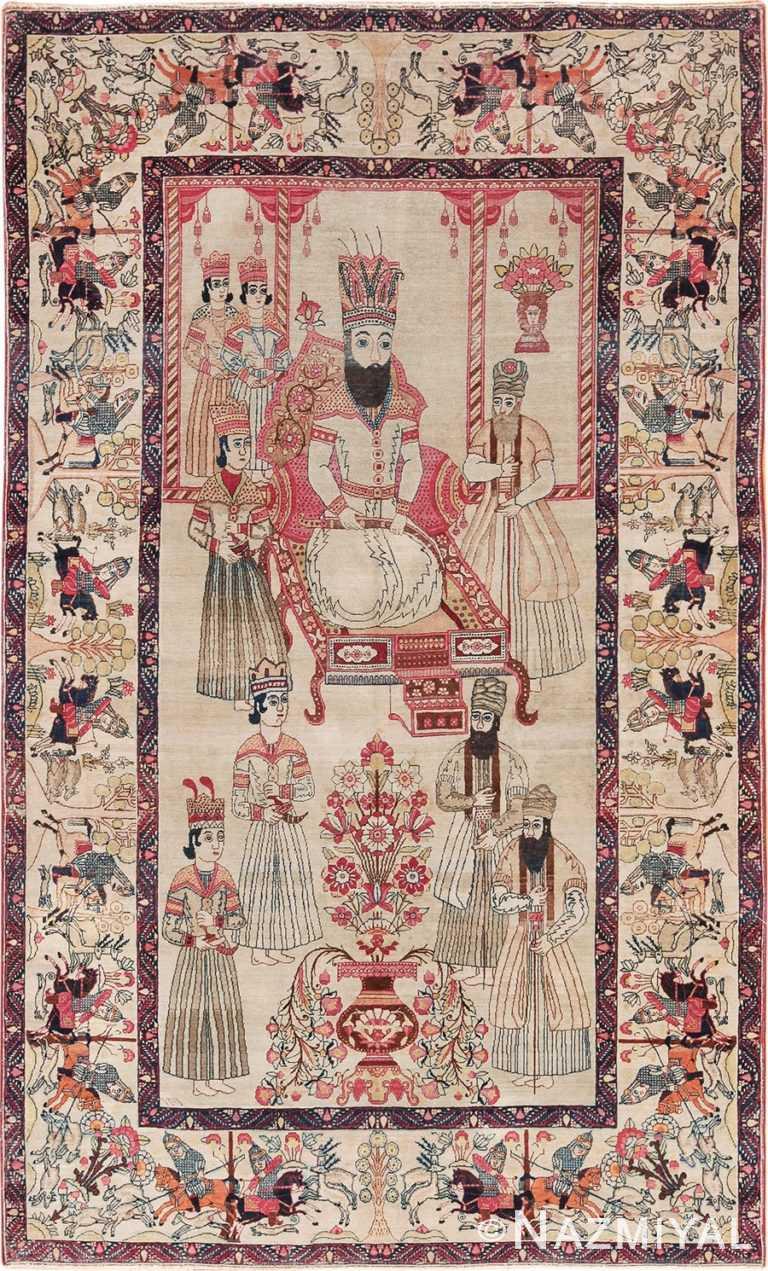 Antique Persian Court Pictorial Kerman Rug 49778 - Nazmiyal