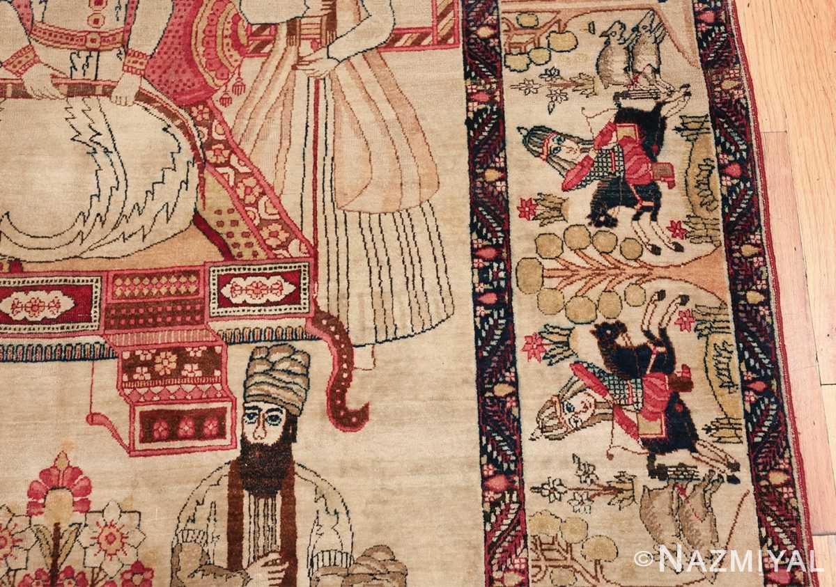 pictorial antique persian kerman rug 49778 border Nazmiyal