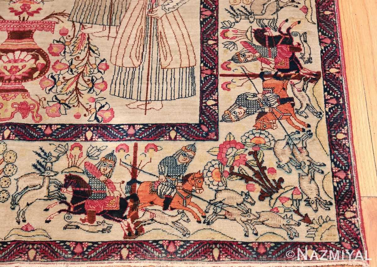 pictorial antique persian kerman rug 49778 corner Nazmiyal