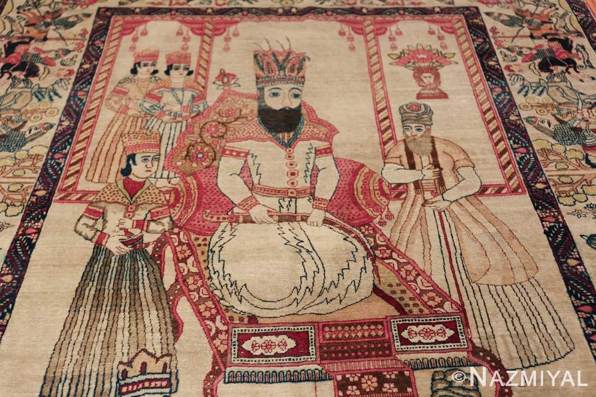 pictorial antique persian kerman rug 49778 crown Nazmiyal
