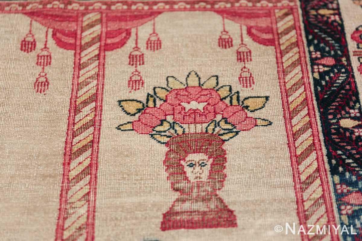 pictorial antique persian kerman rug 49778 flower Nazmiyal