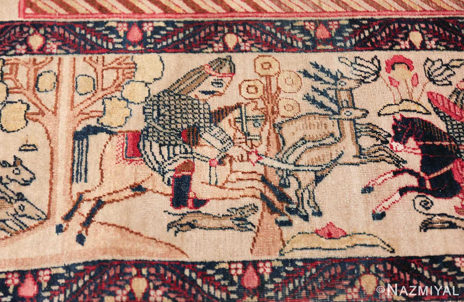 pictorial antique persian kerman rug 49778 hunter Nazmiyal