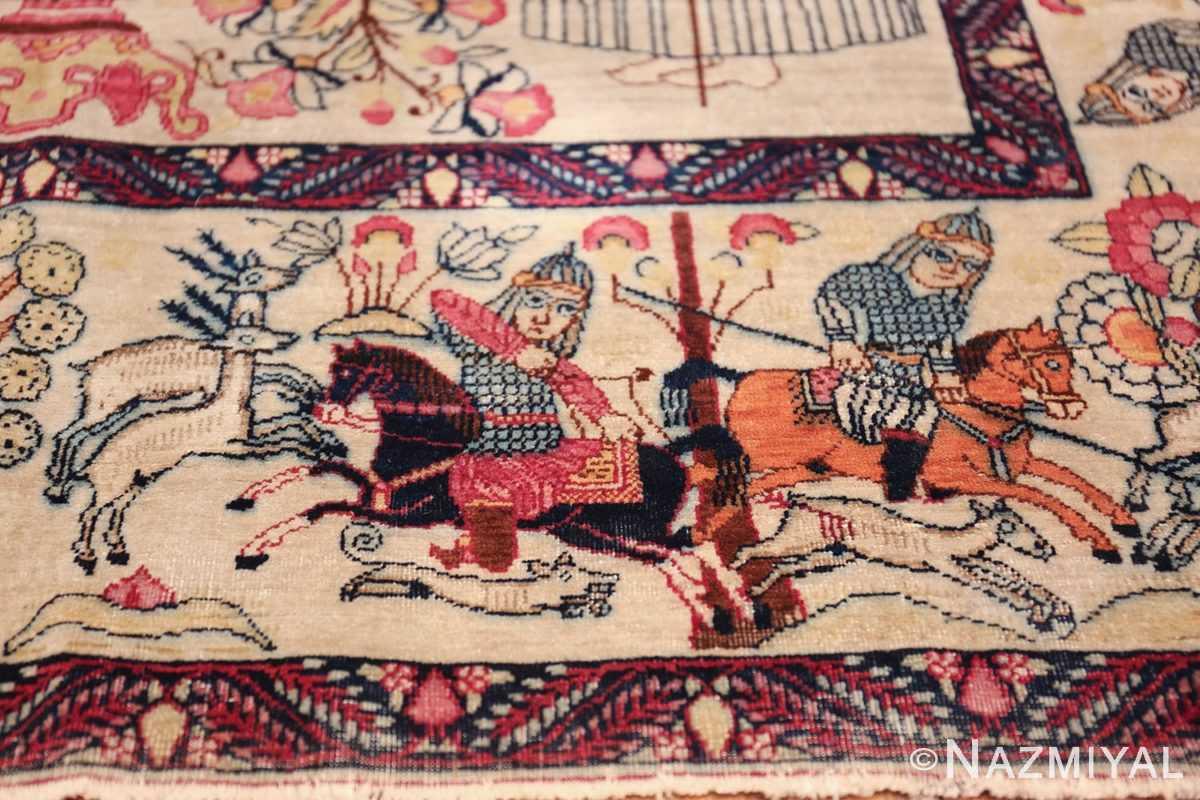 pictorial antique persian kerman rug 49778 soldiers Nazmiyal