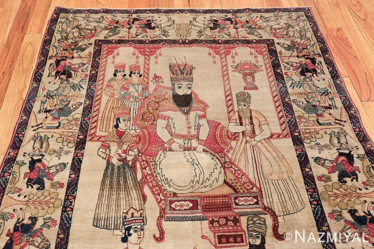 pictorial antique persian kerman rug 49778 top Nazmiyal