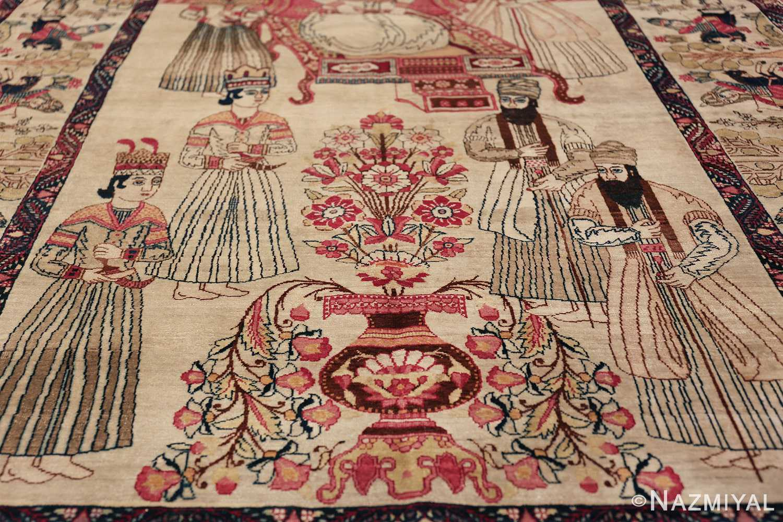 pictorial antique persian kerman rug 49778 vase Nazmiyal