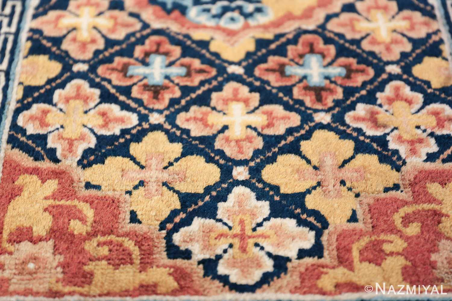 Small Size Antique Chinese Ningxia Rug 49793 array of flowers Nazmiyal