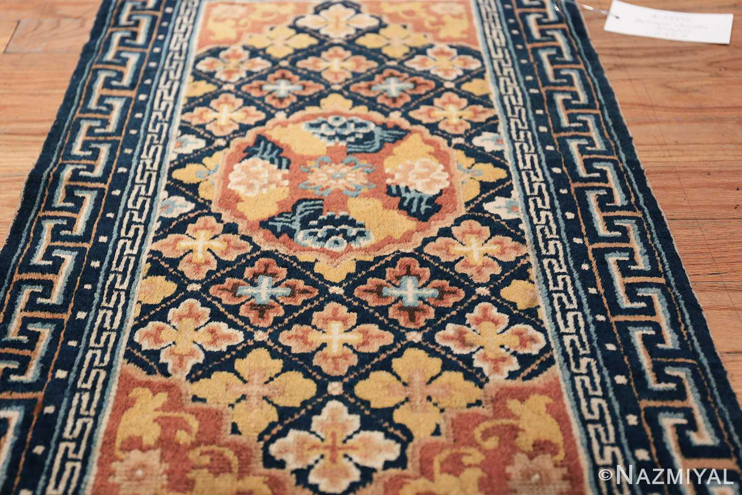 Small Size Antique Chinese Ningxia Rug 49793 floral field Nazmiyal