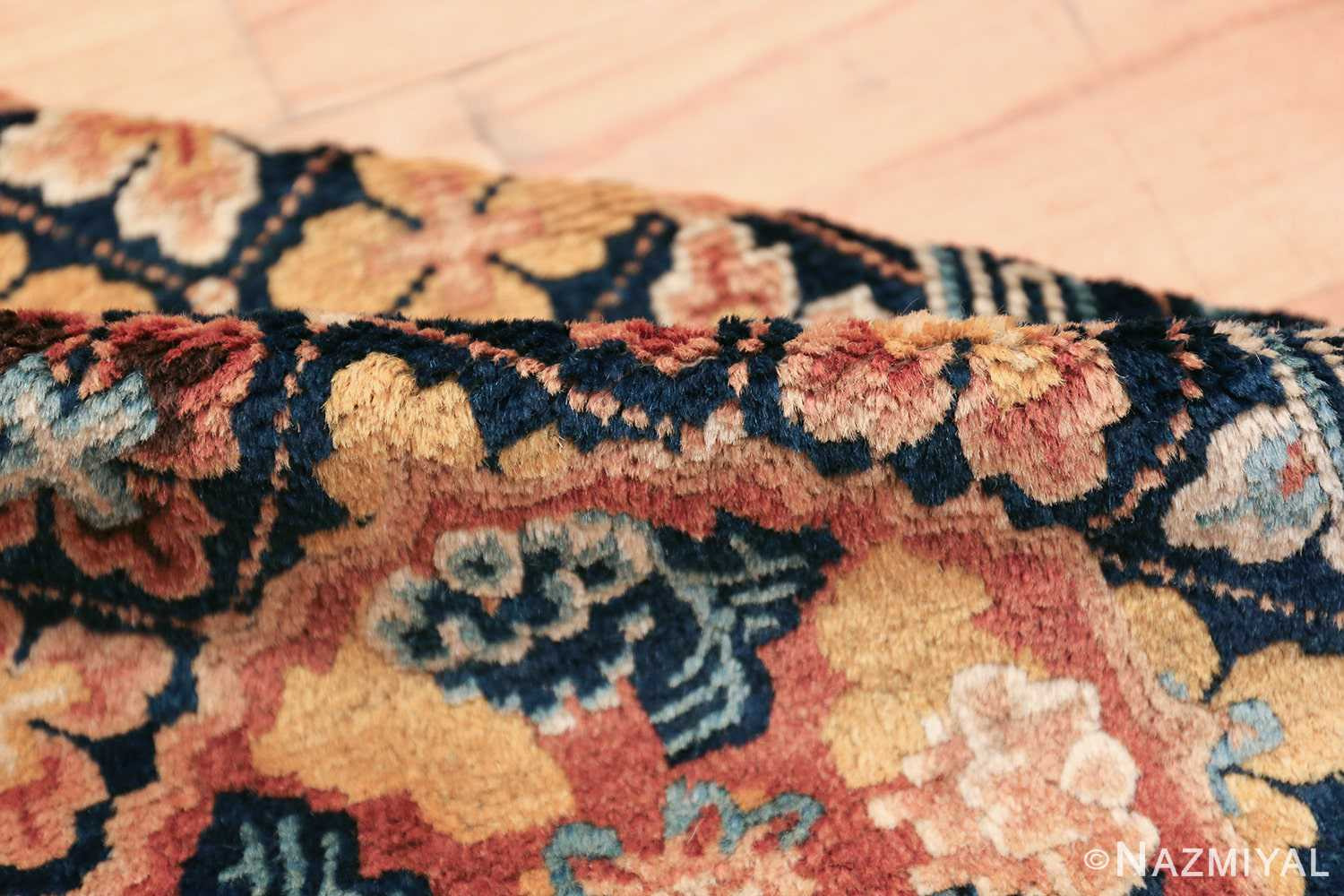 Small Size Antique Chinese Ningxia Rug 49793 floral pile Nazmiyal