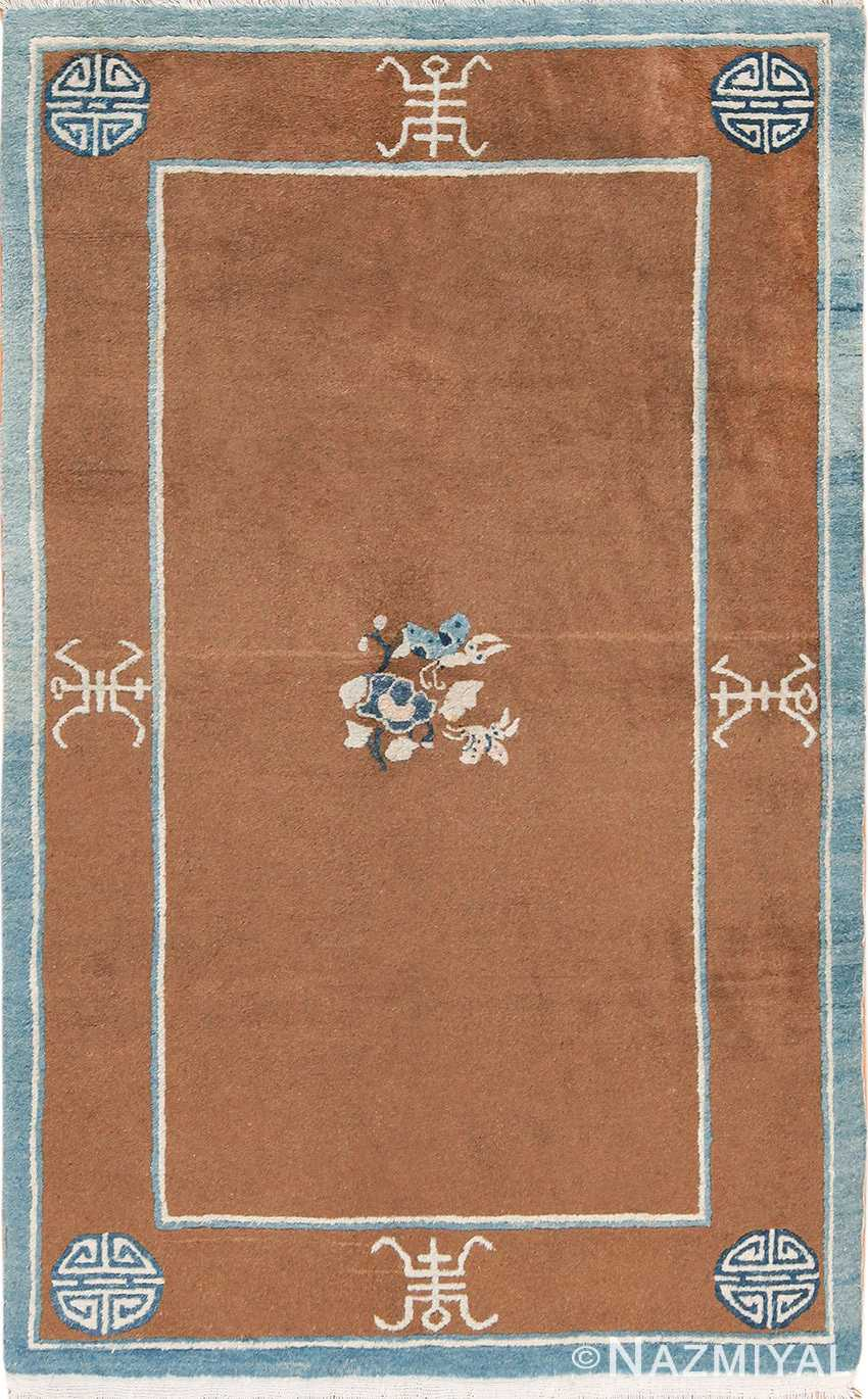 small size brown and blue antique chinese rug 49767 Nazmiyal