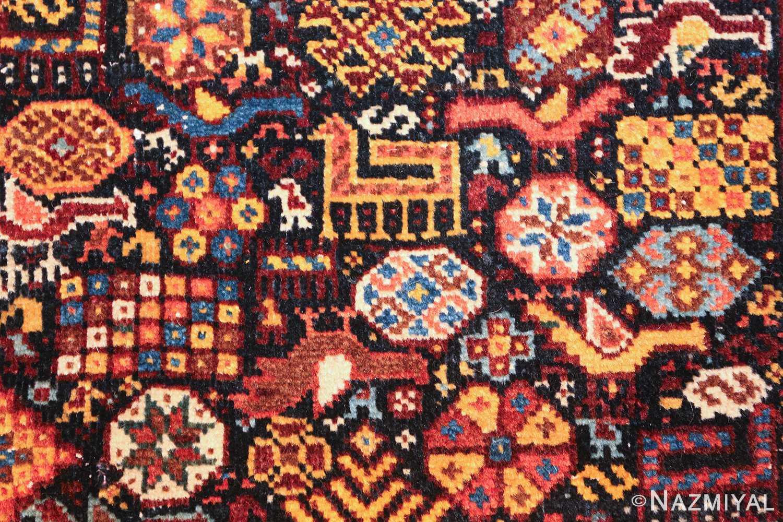 tribal antique persian qashqai rug 49768 rooster Nazmiyal