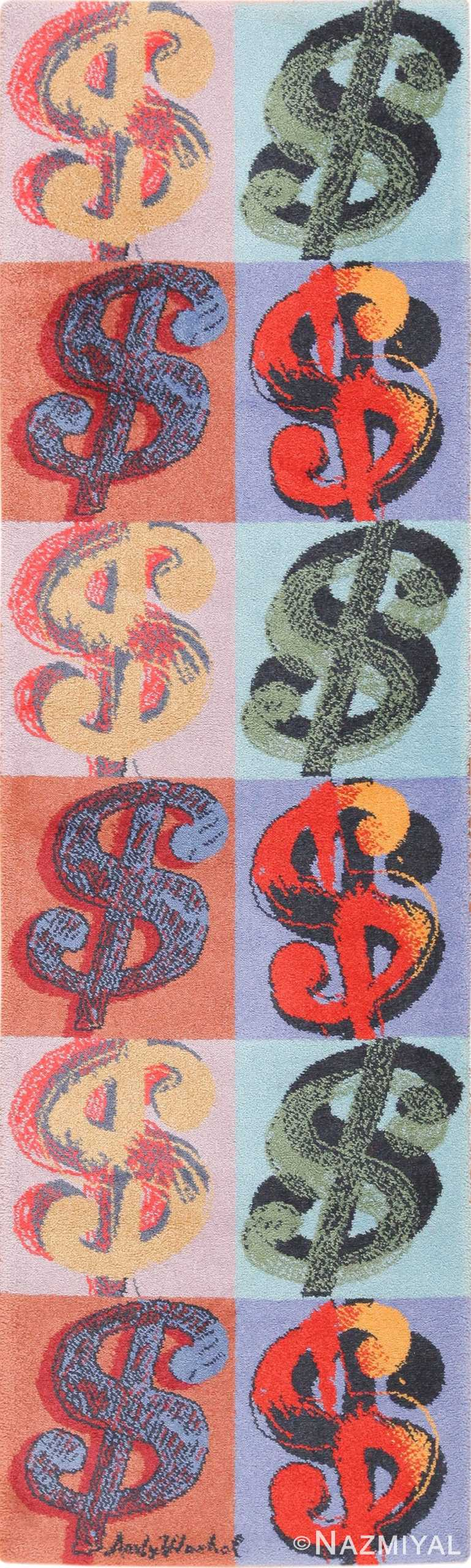 Scandinavian Ege Vintage Andy Warhol Dollar Sign Art Runner Rug 49792 by Nazmiyal