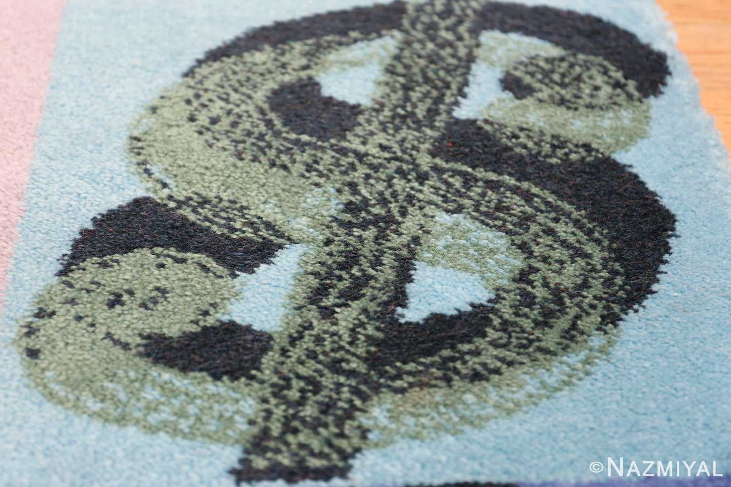 Vintage Dollar Sign Scandinavian runner rug by Andy Warhol 49792 blue square Nazmiyal