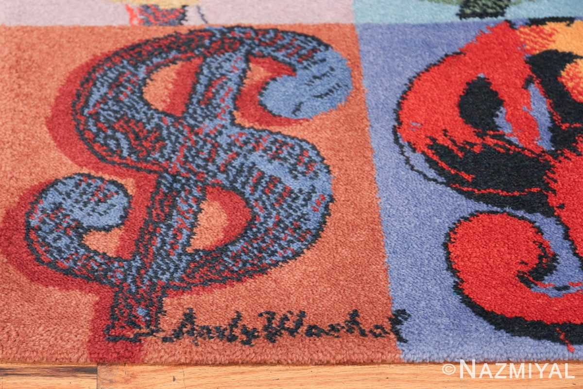 Vintage Dollar Sign Scandinavian runner rug by Andy Warhol 49792 signature Nazmiyal