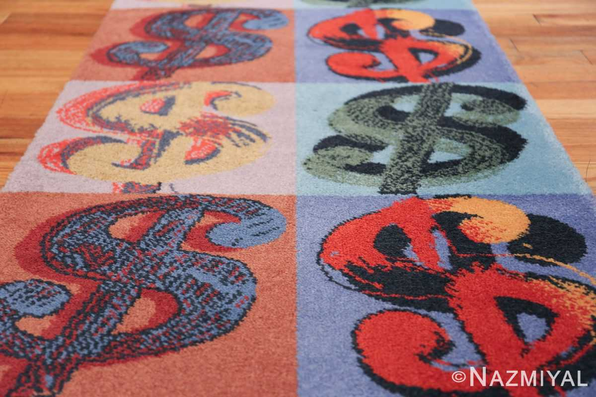 Vintage Dollar Sign Scandinavian runner rug by Andy Warhol 49792 squares of Dollar sign Nazmiyal