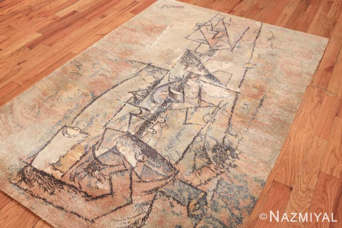 vintage ege art line scandinavian rug by Pablo Picasso 49758 side Nazmiyal