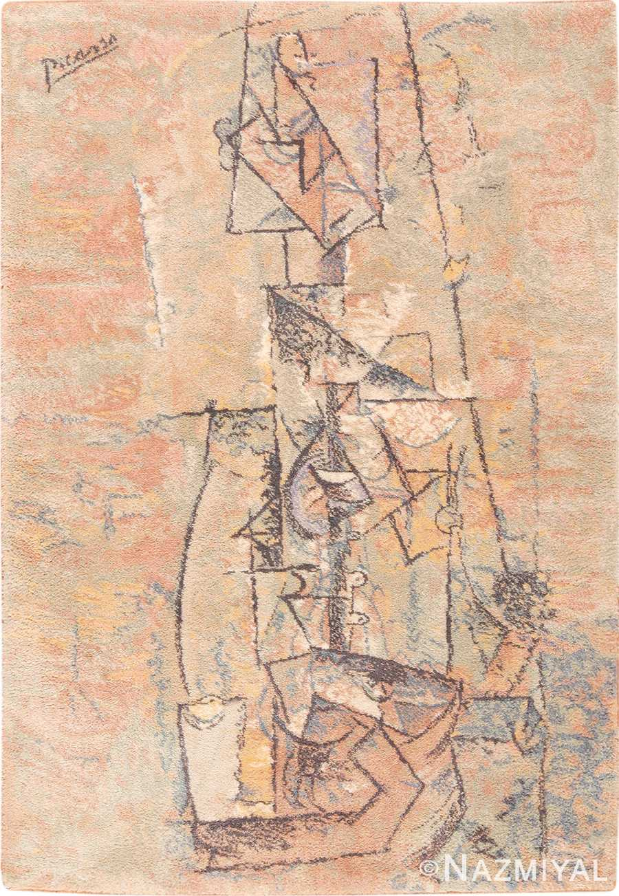 Vintage Ege Art Line Scandinavian Pablo Picasso Woman With Guitar Rug 49758 - Nazmiyal