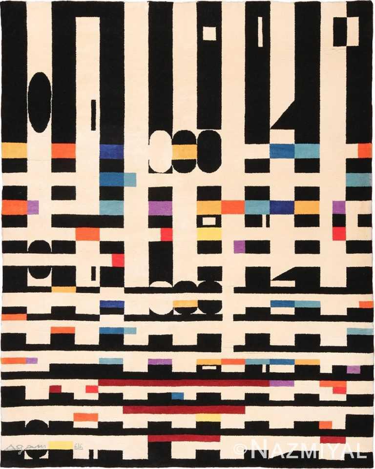 Vintage Geometric Israeli Yaacov Agam Bauhaus Rug 49772 - Nazmiyal