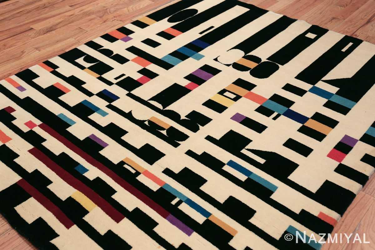 vintage geometric israeli rug by yaacov agam 49772 side Nazmiyal