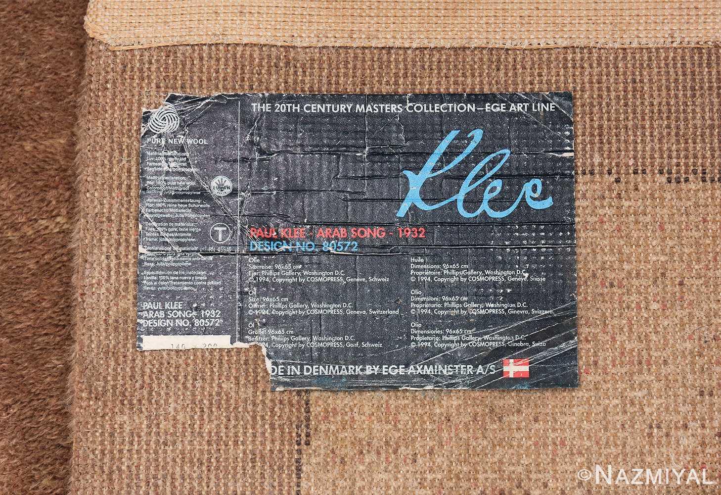 Vintage Paul Klee Arab Song Scandinavian Ege Art Line rug 49785 tag Nazmiyal