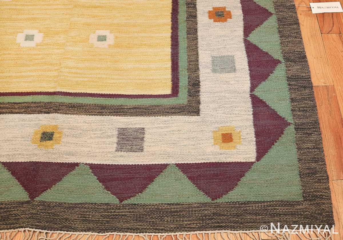 vintage scandinavian swedish kilim rug 49748 corner Nazmiyal