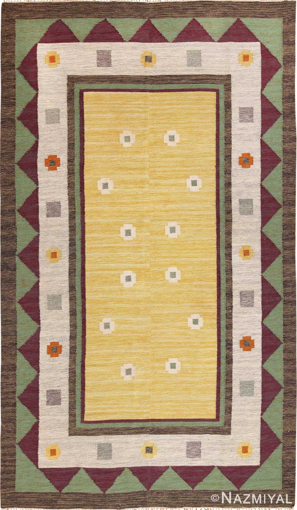 Vintage Scandinavian Swedish Kilim Rug 49748 Nazmiyal