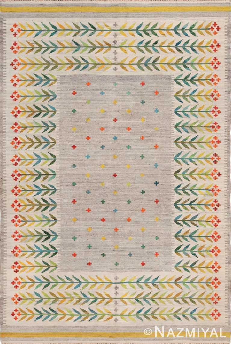 Vintage Scandinavian Flat Woven Swedish Kilim Rug 49771 - Nazmiyal
