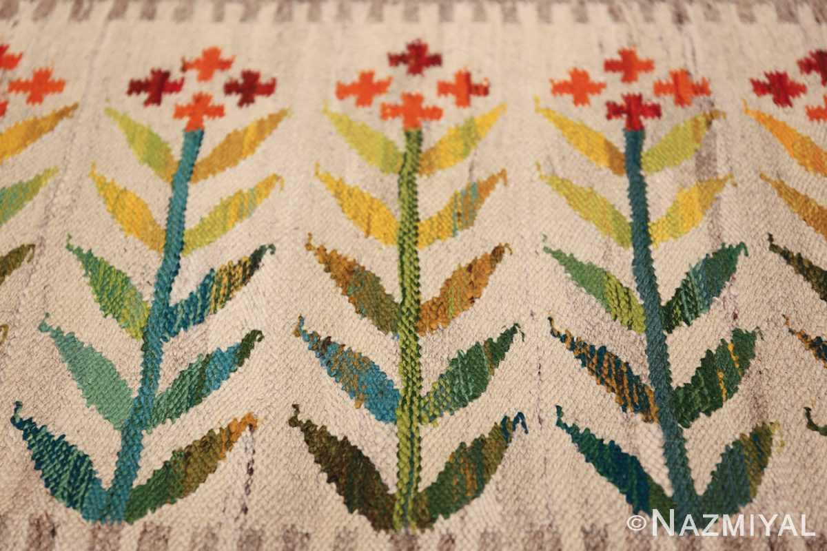 vintage scandinavian swedish rug 49771 flowers Nazmiyal