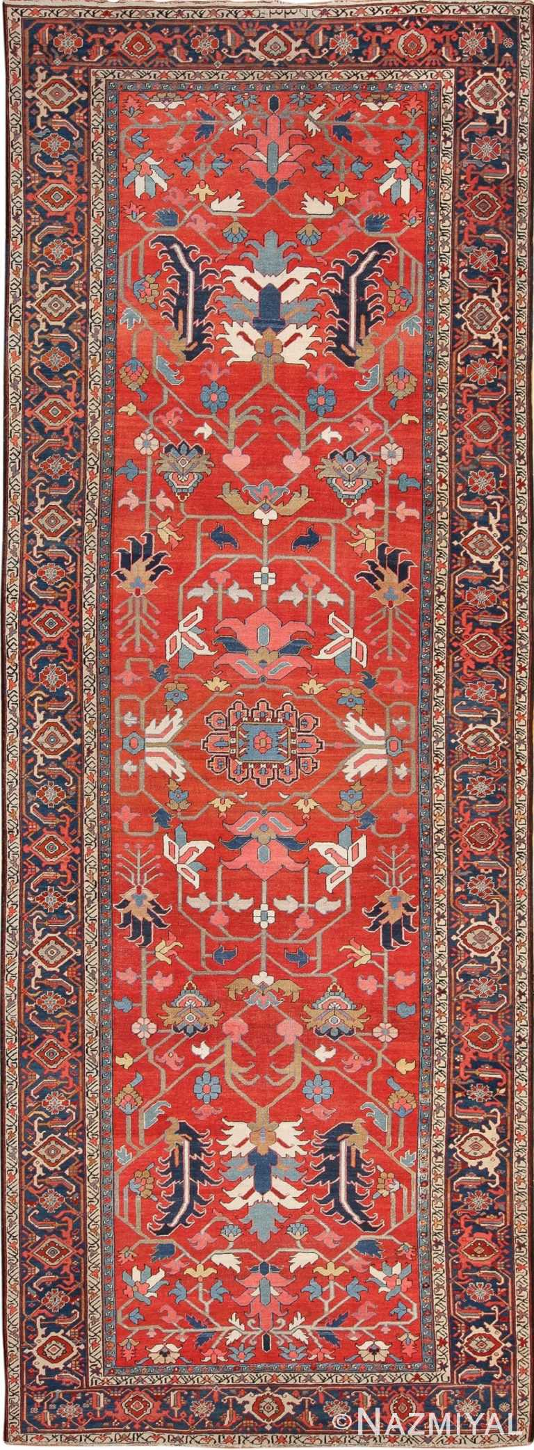 Wide Hallway Gallery Size Antique Persian Heriz Rug 49766 - Nazmyal