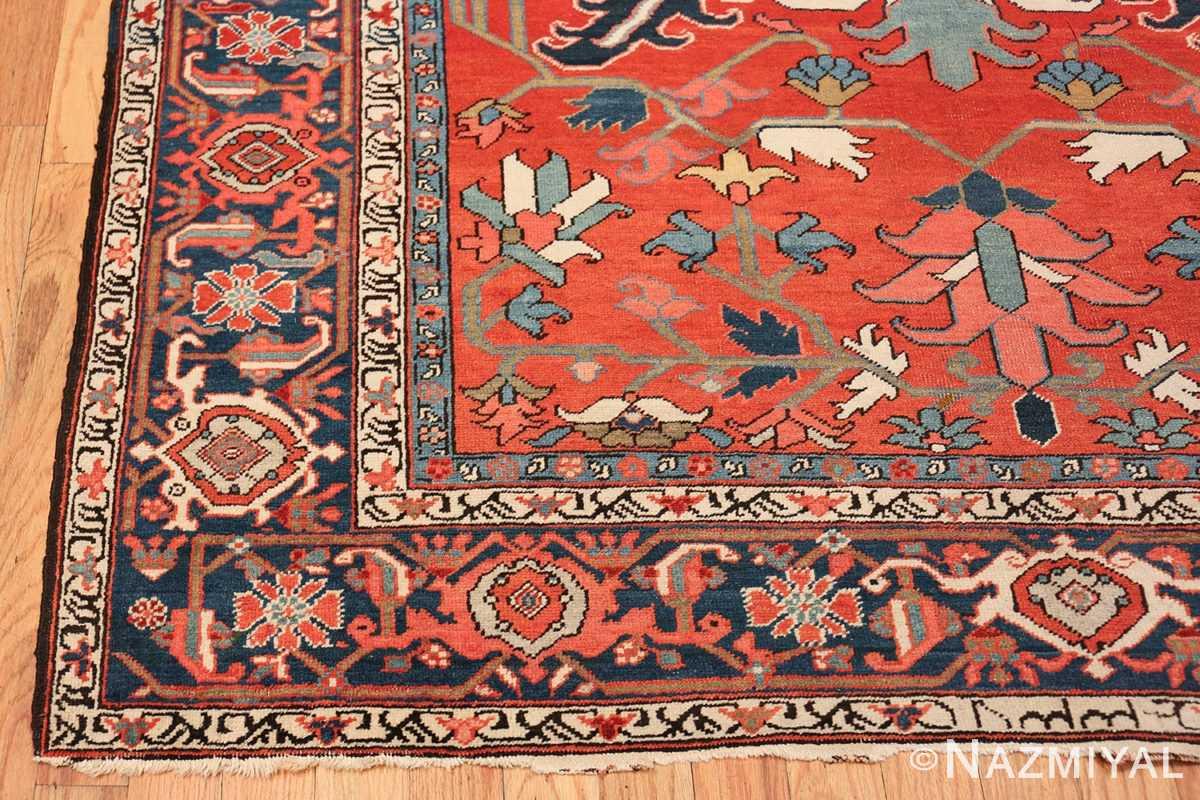 wide hallway antique persian heriz rug 49766 corner Nazmiyal