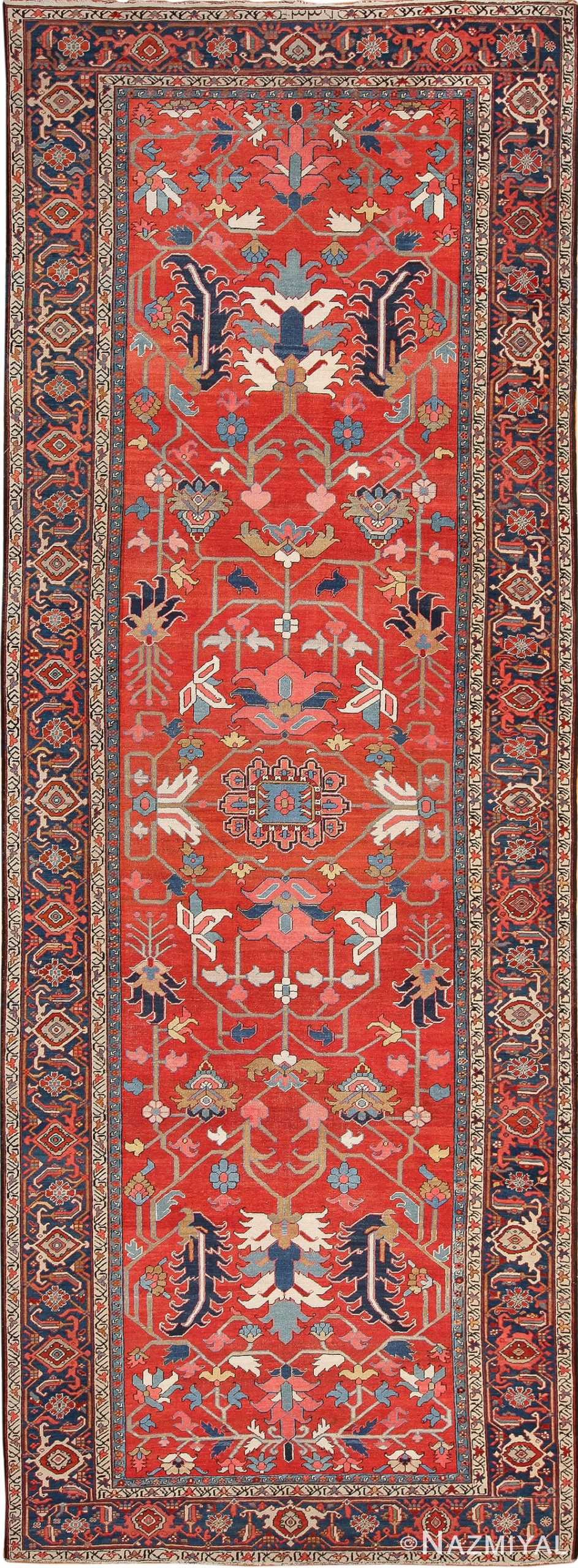 Wide Hallway Gallery Size Antique Persian Heriz Rug 49766 - Nazmyal