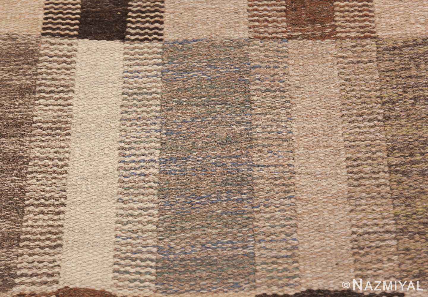 Wide hallway vintage Scandinavian kilim rug by Brita Grahn 49804 blue texture Nazmiyal