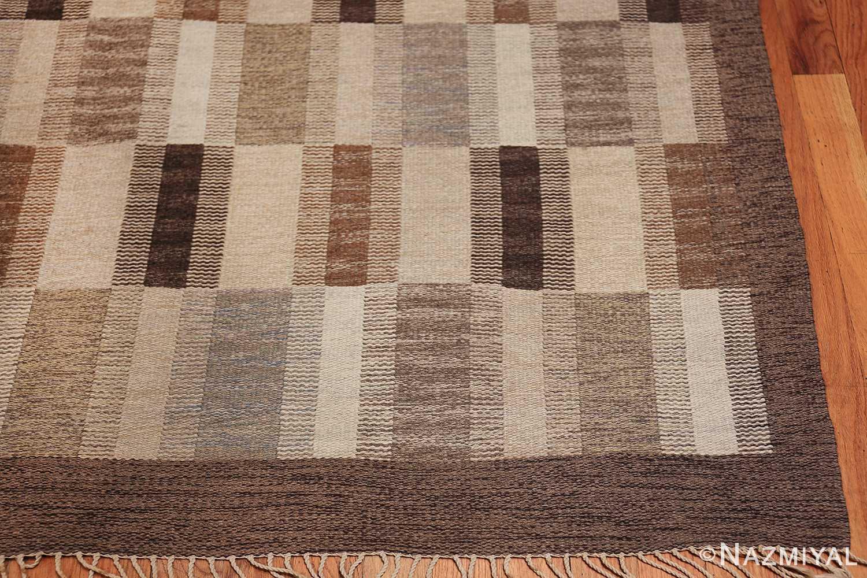 Wide hallway vintage Scandinavian kilim rug by Brita Grahn 49804 corner Nazmiyal