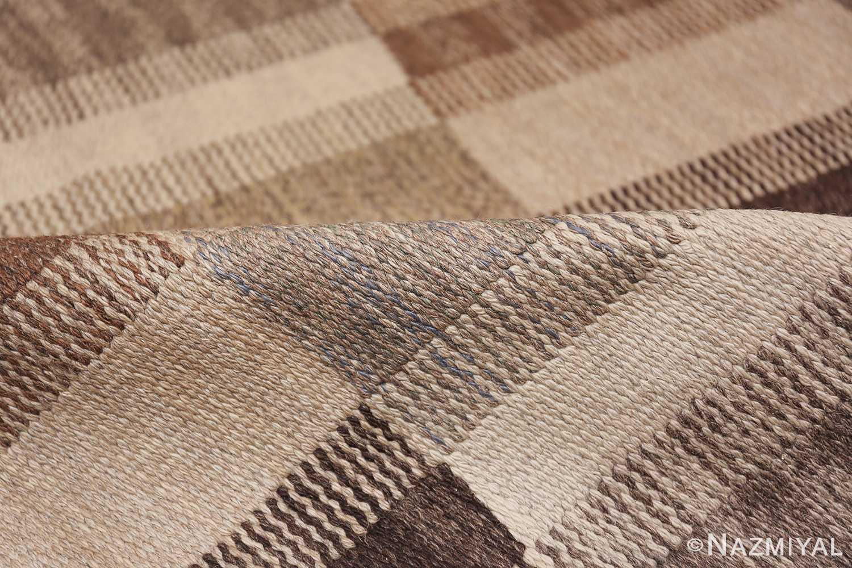 Wide hallway vintage Scandinavian kilim rug by Brita Grahn 49804 geometric pile Nazmiyal
