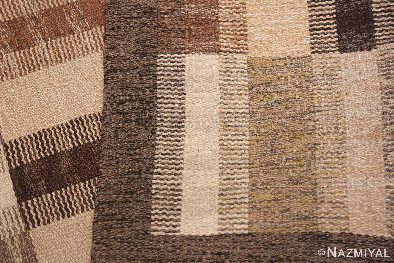 Wide hallway vintage Scandinavian kilim rug by Brita Grahn 49804 knots Nazmiyal